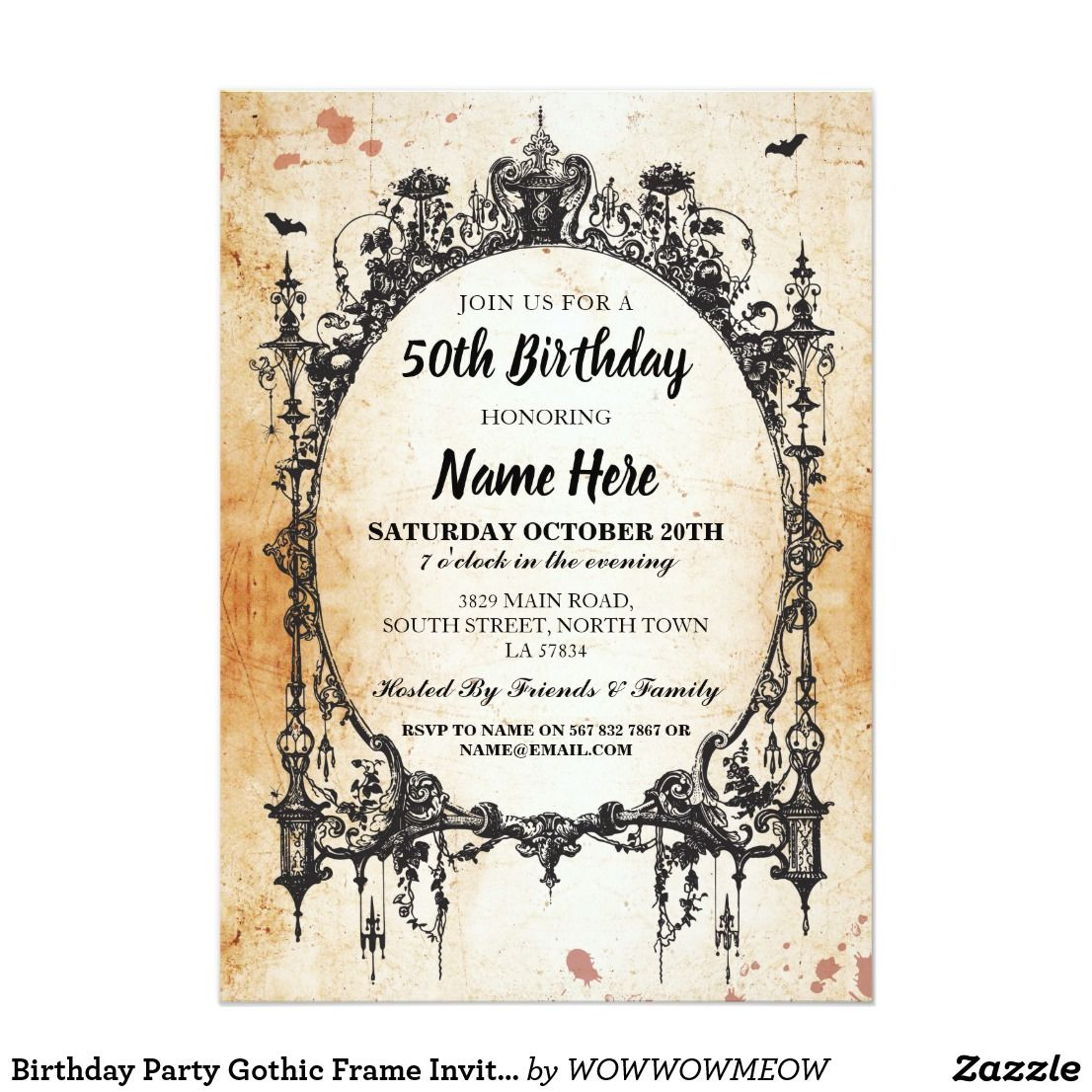 Birthday party gothic frame invite halloween zazzle birthday