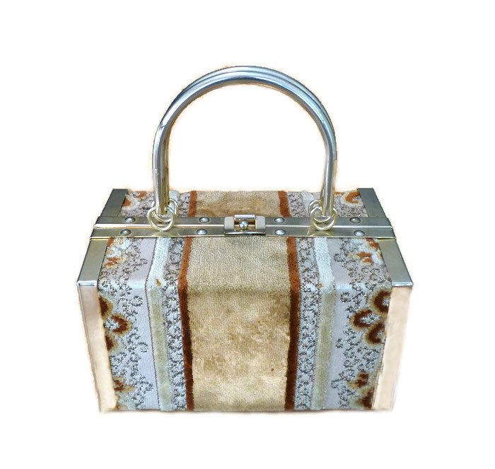 Borsa Bella Handbag, Made in Italy, Brocade Carpet, Trunk Box Style, Top Handle, Gold Tone, Vintage Accessories