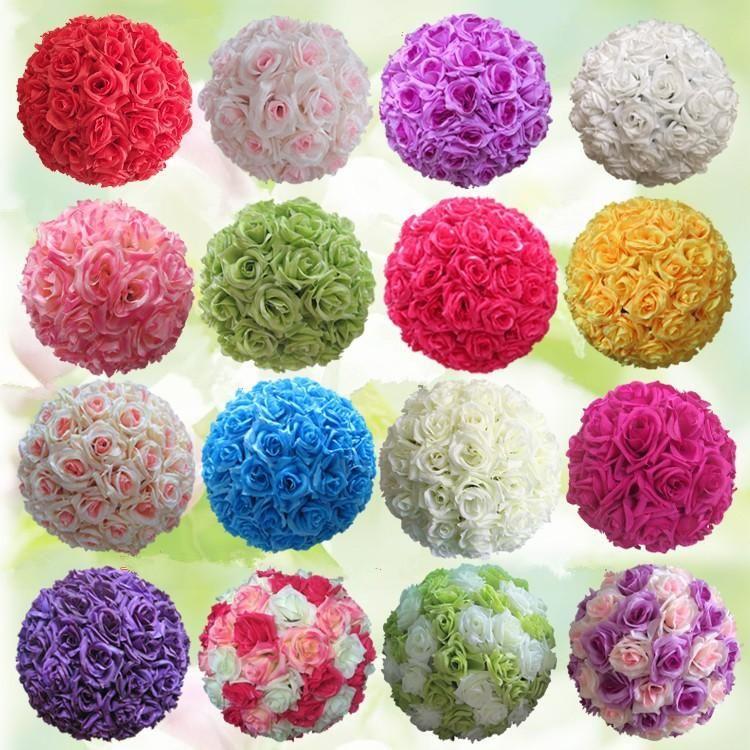 26 Colors Silk Rose Flower Balls Centerpieces Decorative Hanging Flower Ball Wedding Kissing Ball W Flower Ball Centerpiece Flower Ball Tiffany Blue Flowers