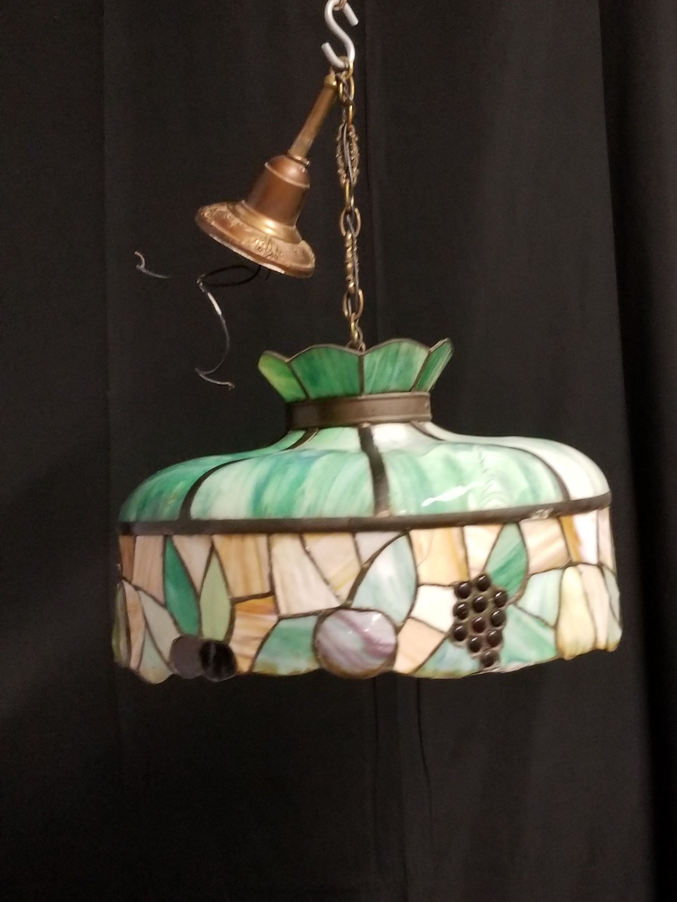 Antique Tiffany Style Lamp Vintage Glass Dome Lamp Large Pendant