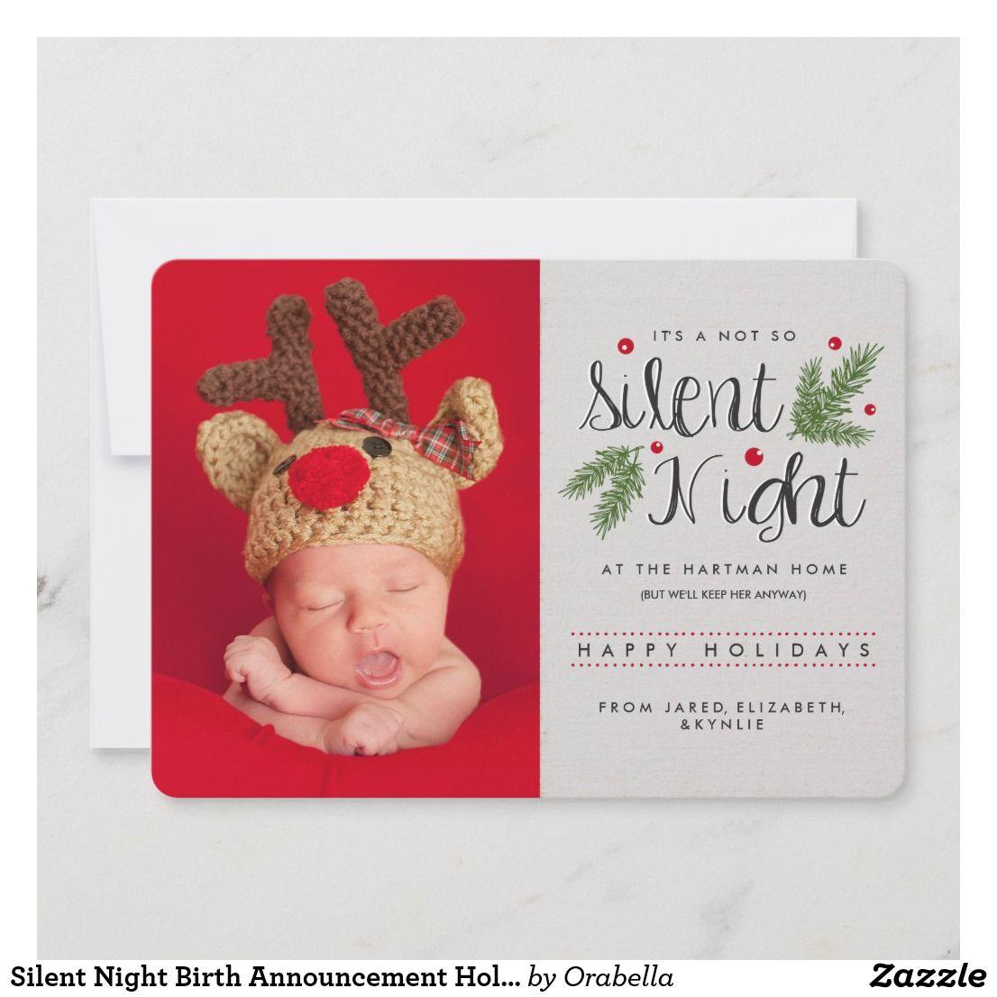 A Not So Silent Night Birth Announcement Photo Zazzle Com Birth Announcement Holiday Card Christmas Birth Announcement Holiday Photo Cards