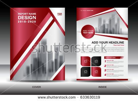Business Brochure flyer template, Red cover design, annual report - advertisement brochure
