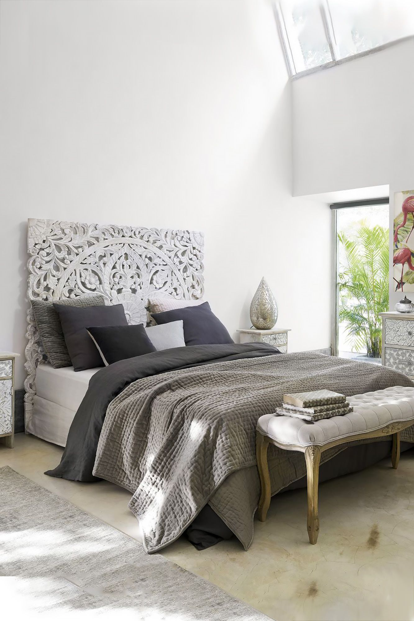 Queen Headboard Beach Cottage Bed Decoration Bed Decor Bedroom