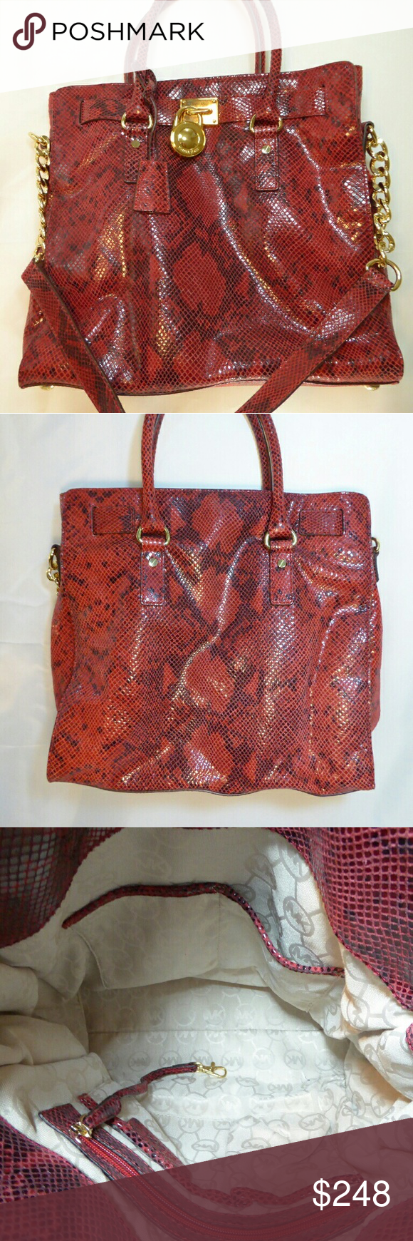 """Michael Kors Python Hamilton Red hot Python embossed leather Michael Kors Tote Bag. Gold hardware, no scratches, or scuff marks.  Snap closure, interior zip and slip pockets, key fob, and signature print lining.  Double straps with approx 4.25"""" drop, 13"""" drop shoulder strap.   Approx 14""""L x 13.5H x 4.25"""" W.  Excellent condition. Thank you for your interest. Bags Totes"""