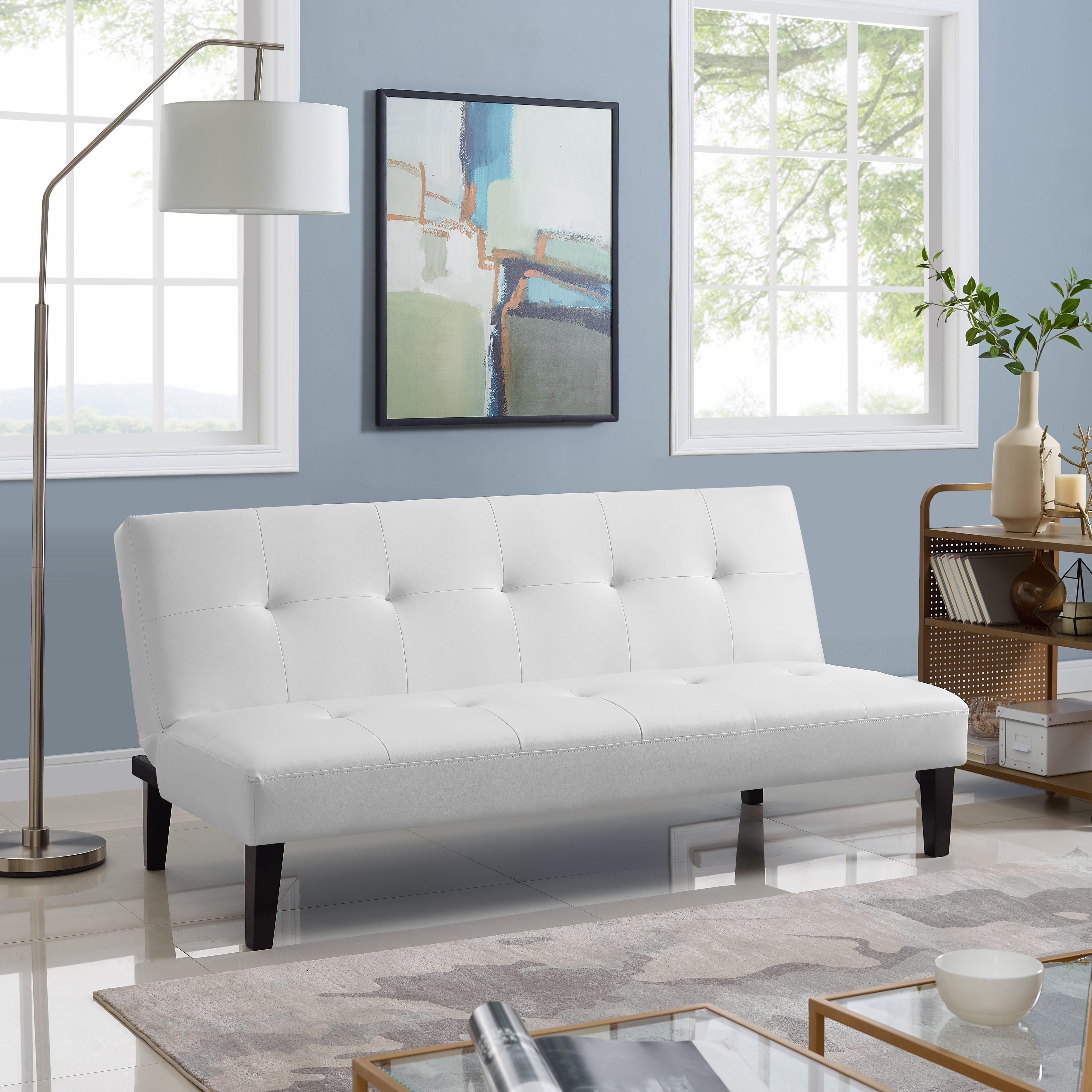 Button Tufted Futon Sofa Bed By Naomi Home Color White Walmart Com In 2020 Couch Alternatives Futon Living Room Futon Sofa Bed