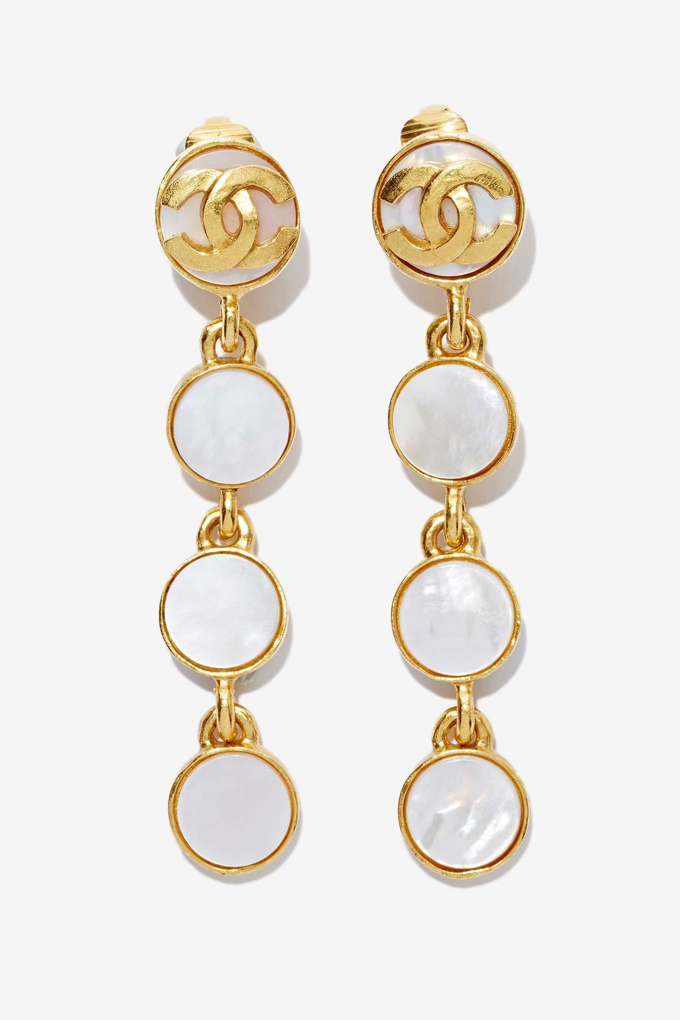 5b1a7c7e53 Vintage Chanel Mother of Pearl Earrings | Shop Chanel at Nasty Gal ...