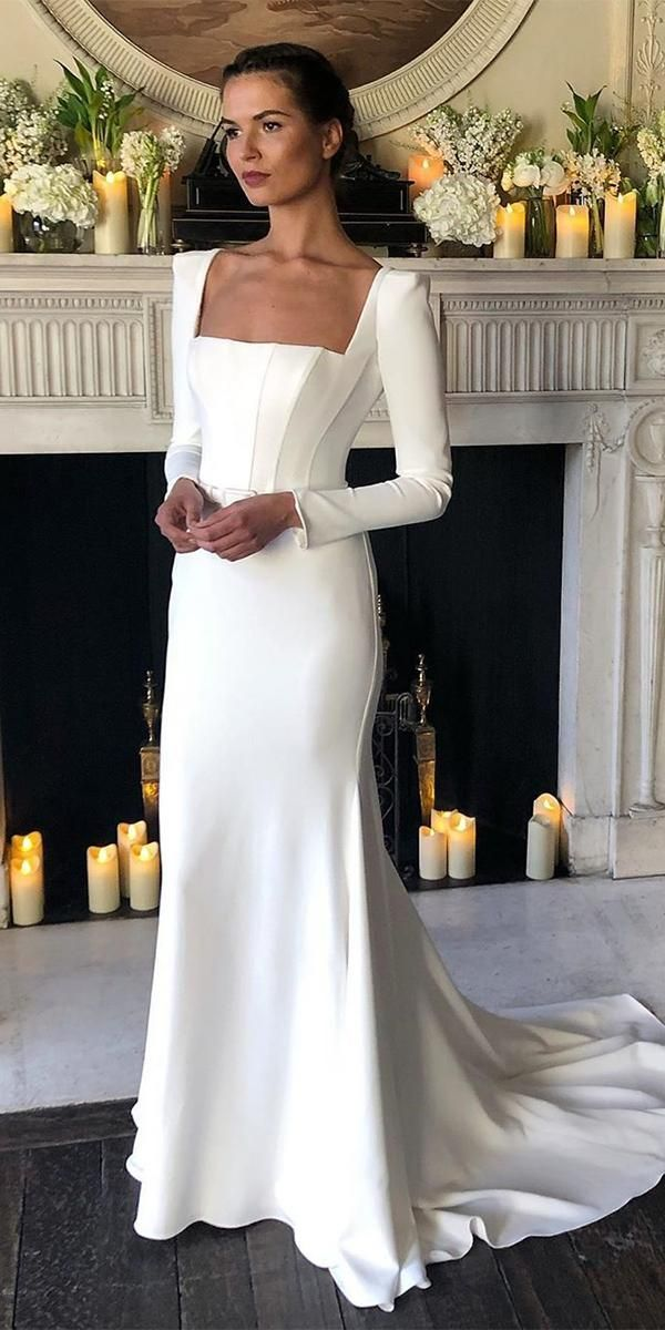 24 Of The Most Graceful Simple Wedding Dresses With Sleeves Wedding Dresses Guide In 2020 Wedding Dresses Wedding Dresses Simple Simple Wedding Dress With Sleeves