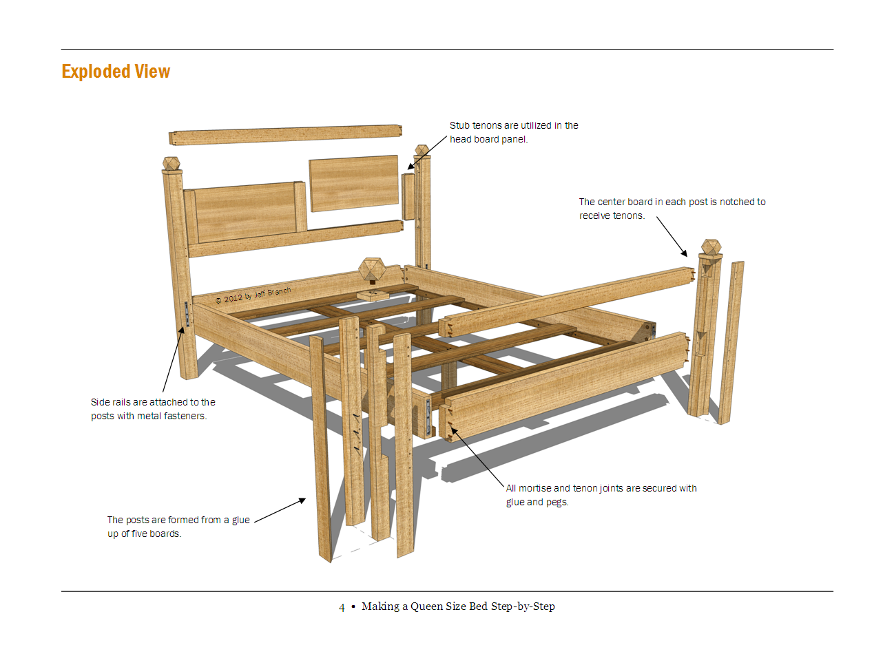 Queen bed plans net free woodworking plan making for Arts and crafts bed plans