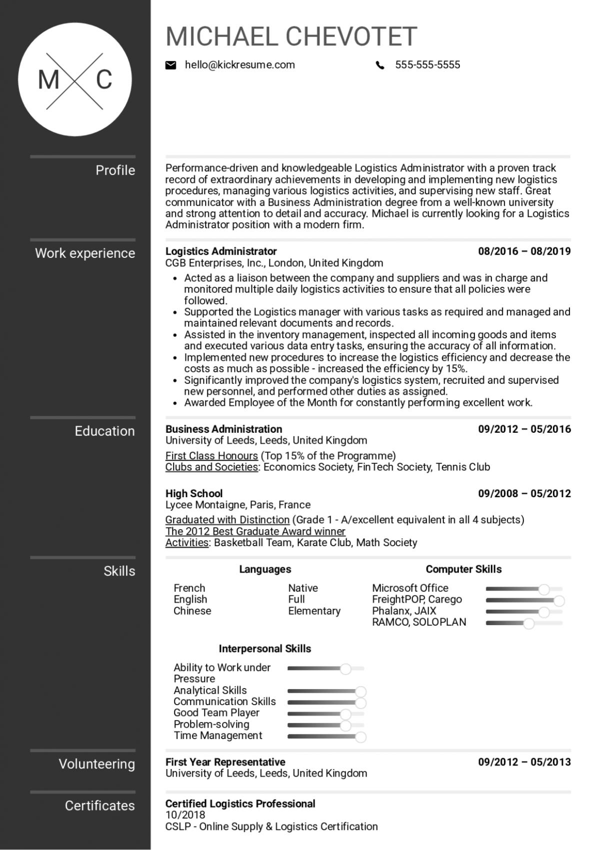 14 Logistics Resume Samples in 2020 Engineering resume