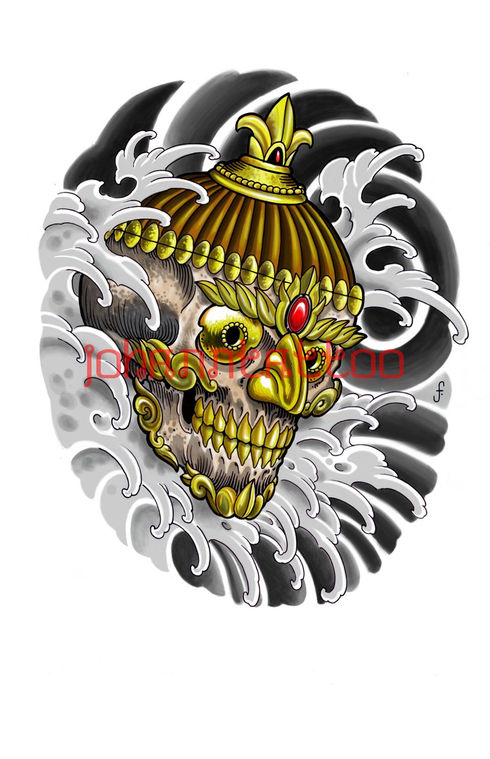 Items Similar To Tibetan Kapala Skull Tattoo Print On Etsy Oriental Tattoo Tibetan Tattoo Skeleton Tattoos