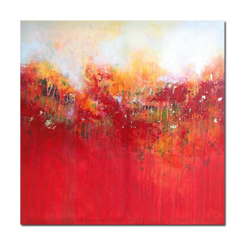 Original art canvas painting modern contemporary red orange yellow