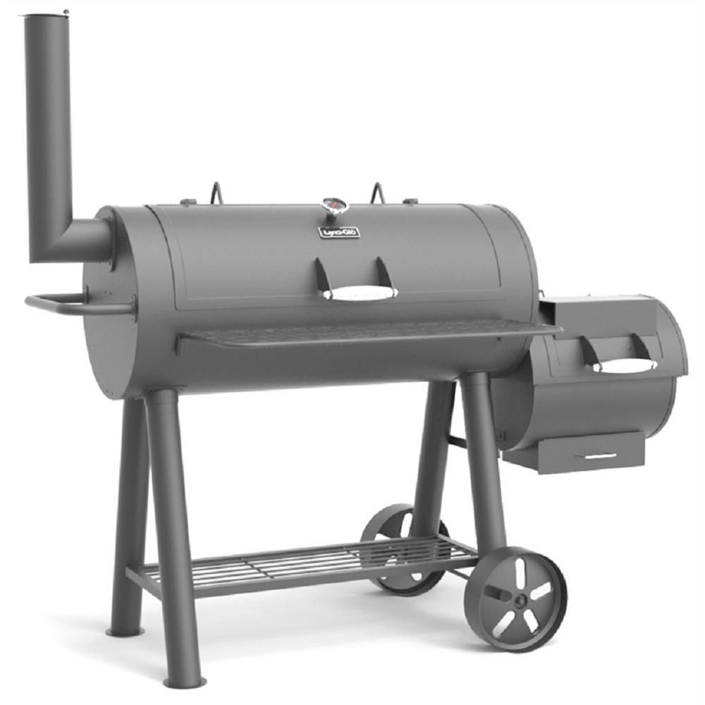 Dyna Glo Signature Heavy Duty Barrel Charcoal Grill And Offset Smoker In Black Dgss962cbo D Kit The Home Depot Charcoal Smoker Offset Smoker Grill Smoker
