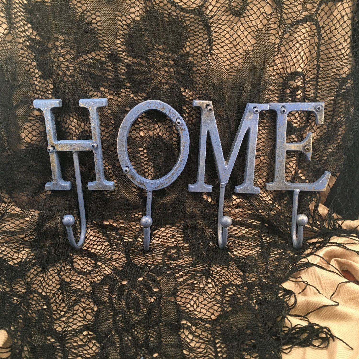 Hammered Metal Letters Cast Iron Wall Towel Hooks 'home' Decorative Metal Letters Hook