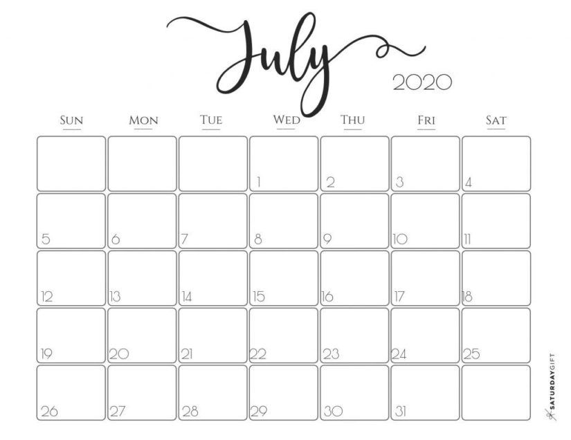 30 Printable July 2020 Calendars To Get For Free Di 2020