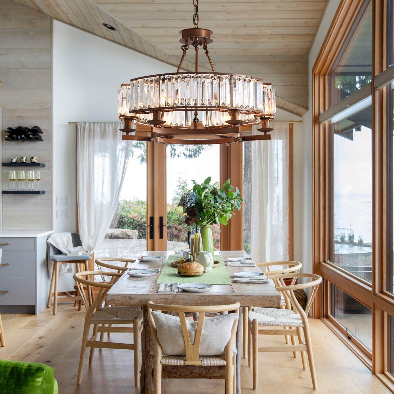 Contemporary Round Island Crystal Chandelier In 2020 Vintage Industrial Design Rustic Chandelier Crystal Chandelier