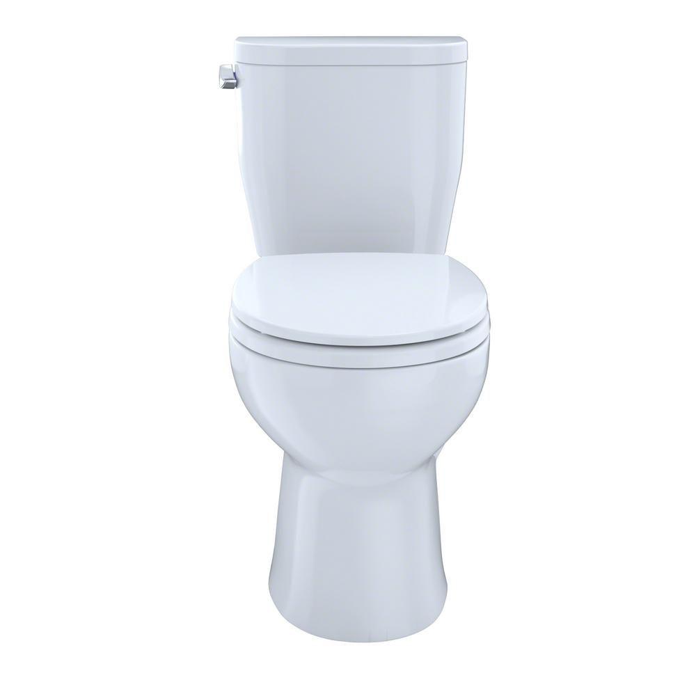 TOTO Entrada 2-Piece 1.28 GPF Single Flush Round Toilet in Cotton ...