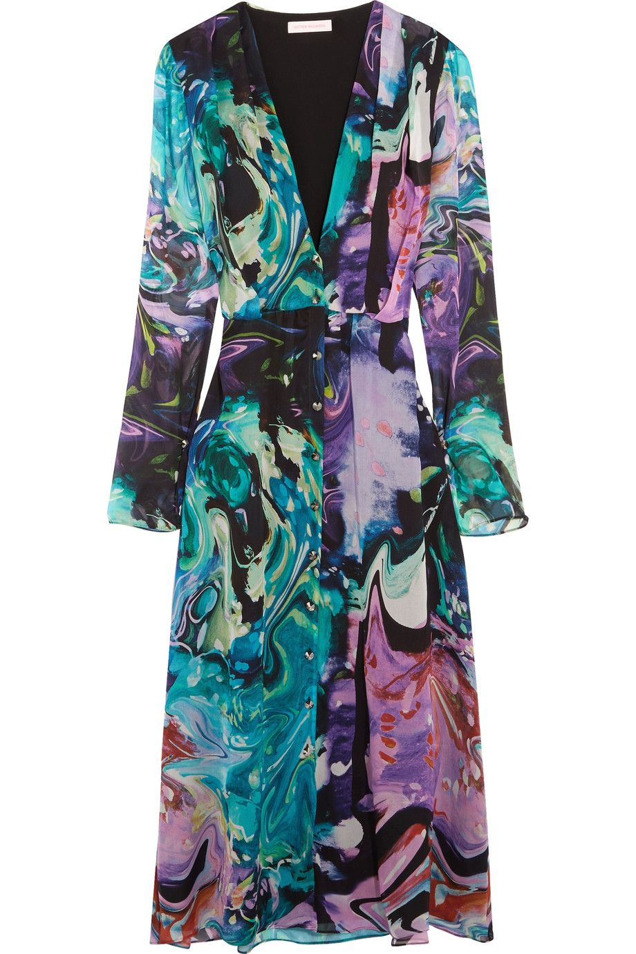 Matthew Williamson Printed silk-chiffon and silk-satin midi dress