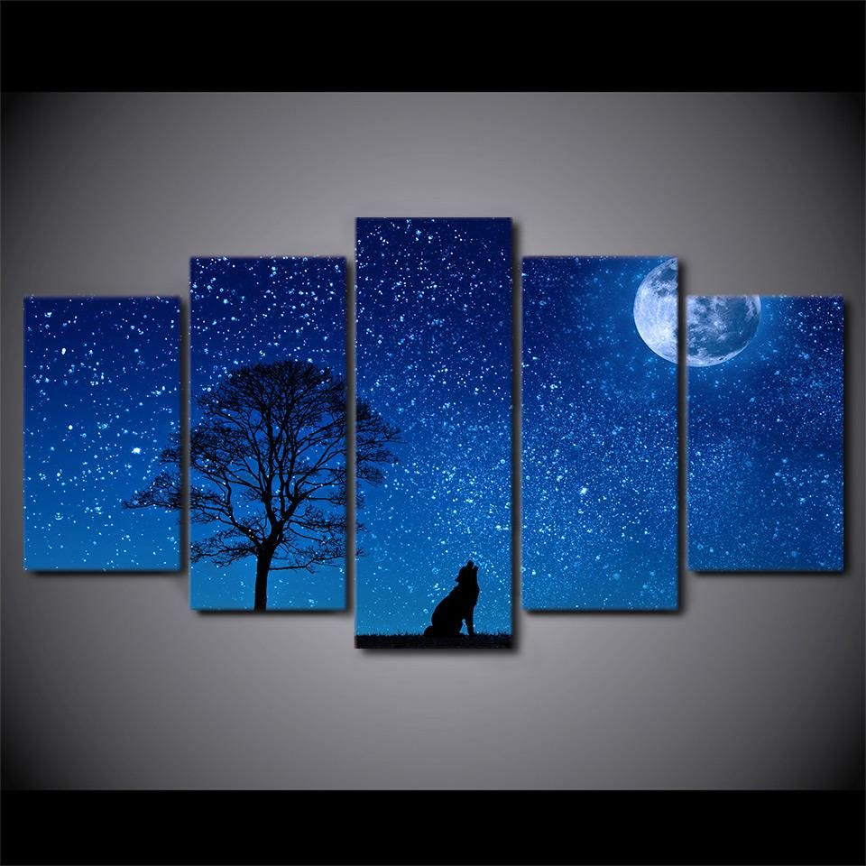 Hd printed pieces howling wolf canvas paintings blue moon poster