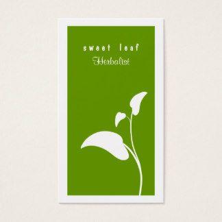 Carte De Visite Vert Herboriste Feuille