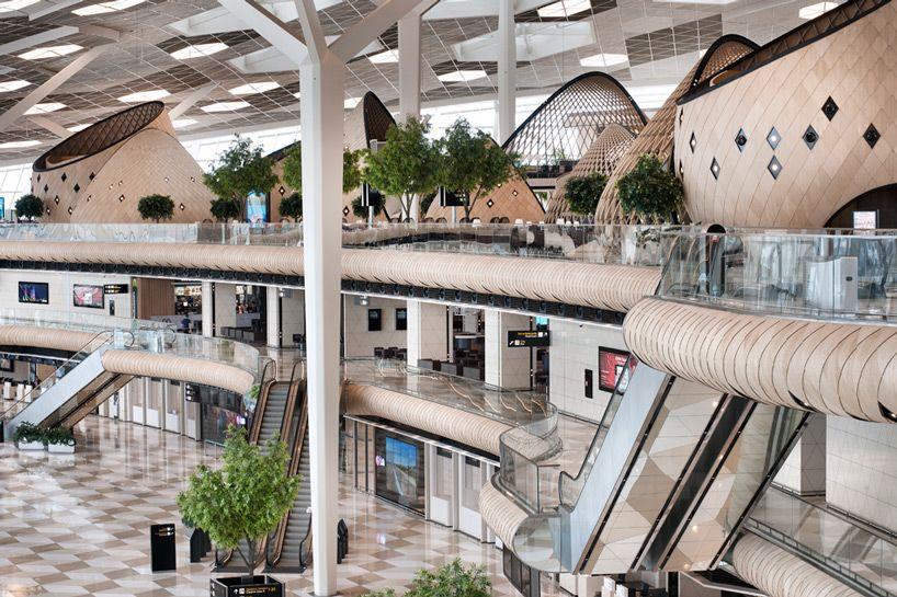 Wood Cocoons Organize Heydar Aliyev International Airport By Autoban Architecture Airport Design International Airport
