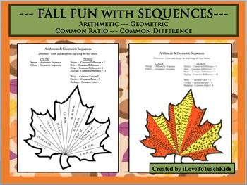 Fall Fun Arithmetic Geometric Sequences Common Ratio Difference