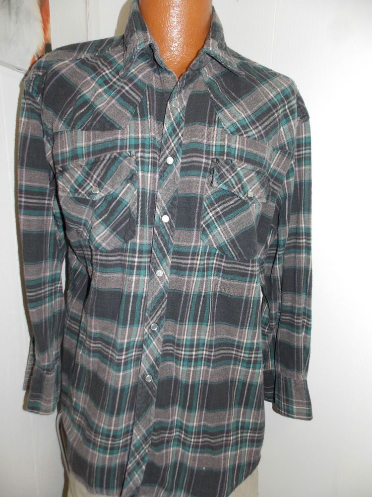b1b53057 Vintage OUTLAW WESTERN WEAR PEARL SNAP FLANNEL Shirt Mens Size XL #Outlaw