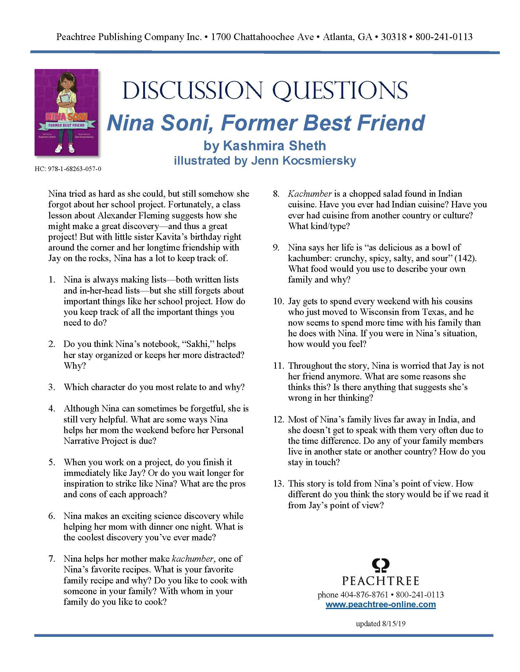 Free Educator Resource Discussion Guide For Nina Soni Former Best Friend Discussion Guide Teacher Guides Education