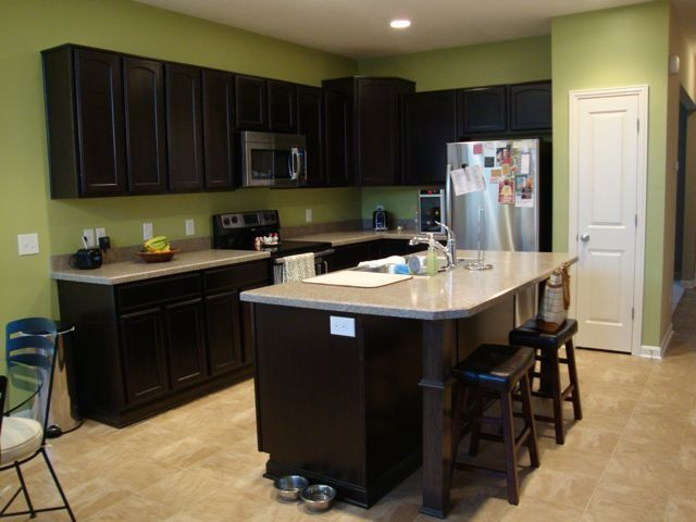 Green And Black Kitchen Ideas Part - 49: Kitchen...dark Cabinets, Light Counters, Green Walls | Home Ideas .