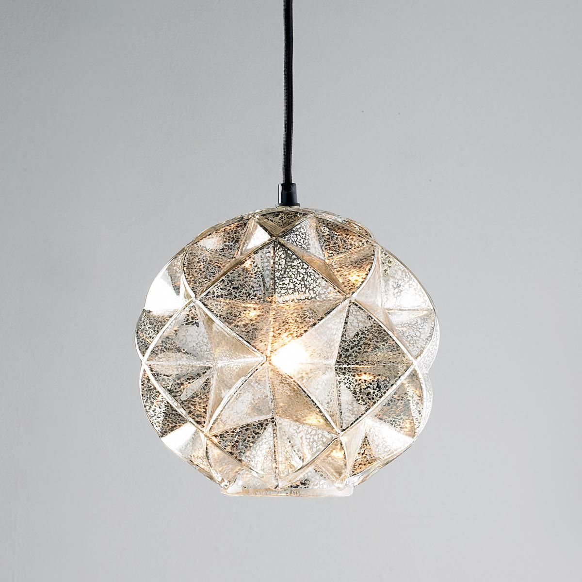 Mercury glass light fixtures - Mercury Glass Geodesic Dome Pendant Light 3 Of These Clustered Over The Dining Table Would