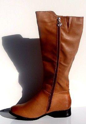 WOMENS NEW WINTER WARM CAMEL KNEE HIGH BOOTS ZIP LADIES HEEL LOW SIZE 3- 7.5 UK