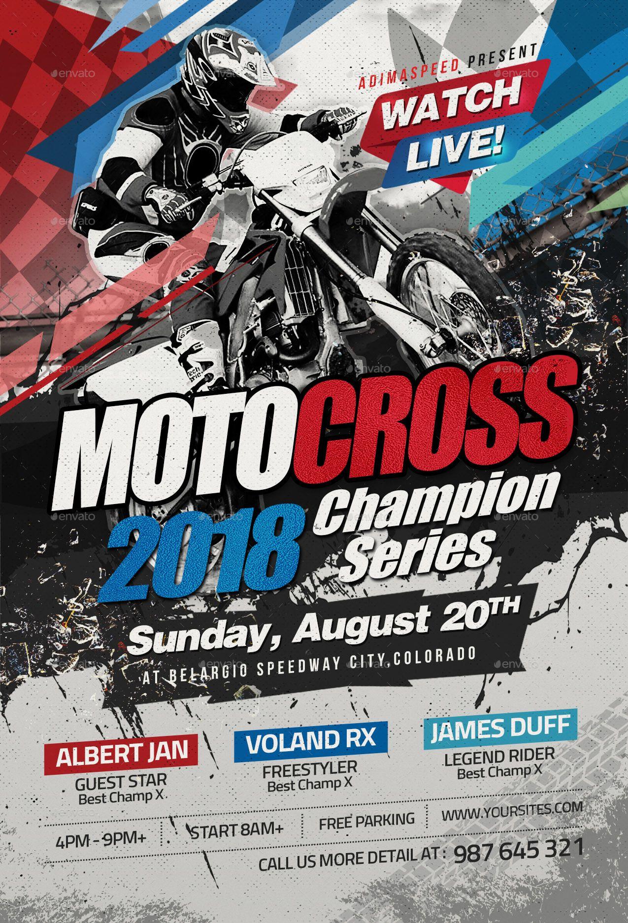 Motocross Flyer Bike Poster Poster Design Racing Posters