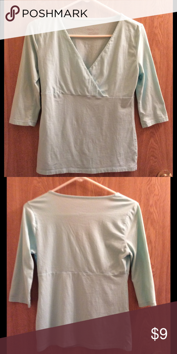 quarter sleeve mint top  Pretty in mint green, has been worn but shows no sign. Not see through. Quarter sleeve perfect for summer work or play Tops