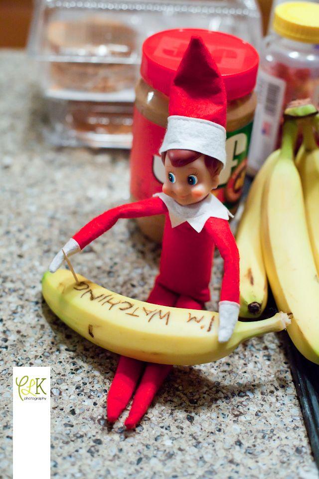 Elf On The Shelf Writing A Creepy Message On A Banana With A