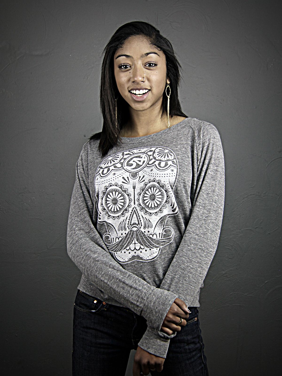 Slouchy Candy Skull pullover. $35.00
