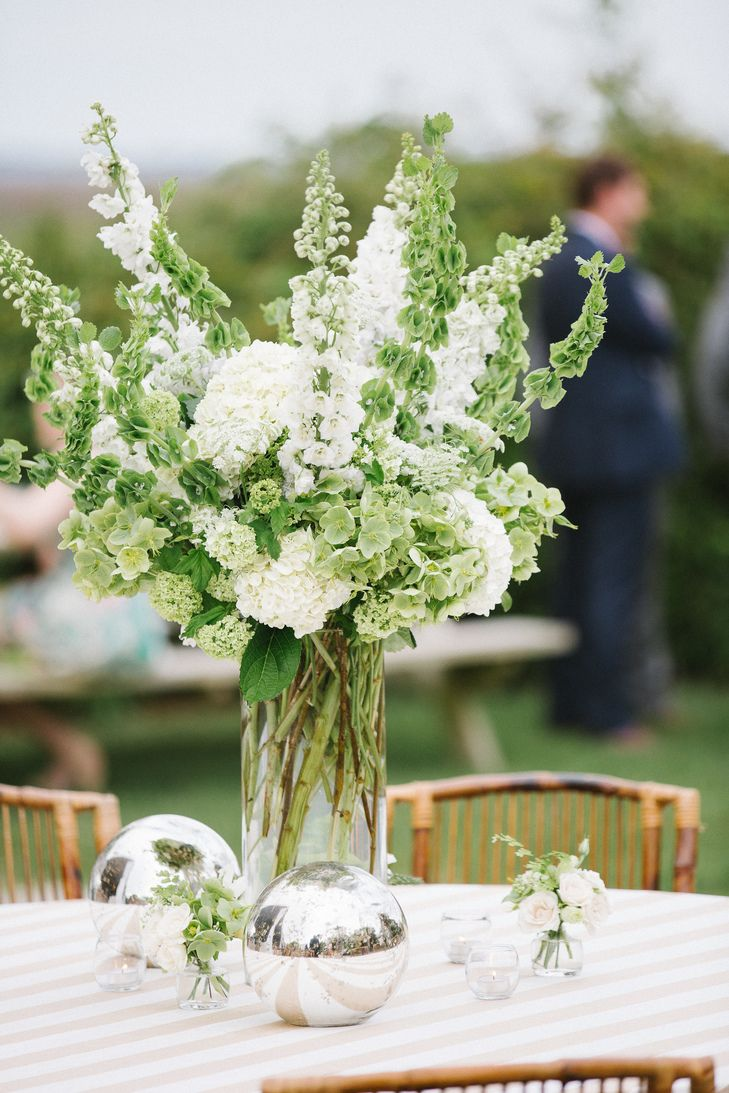 Green And White Tall Floral Centerpiece Photo Willett Photography Flowers Emily Ellison