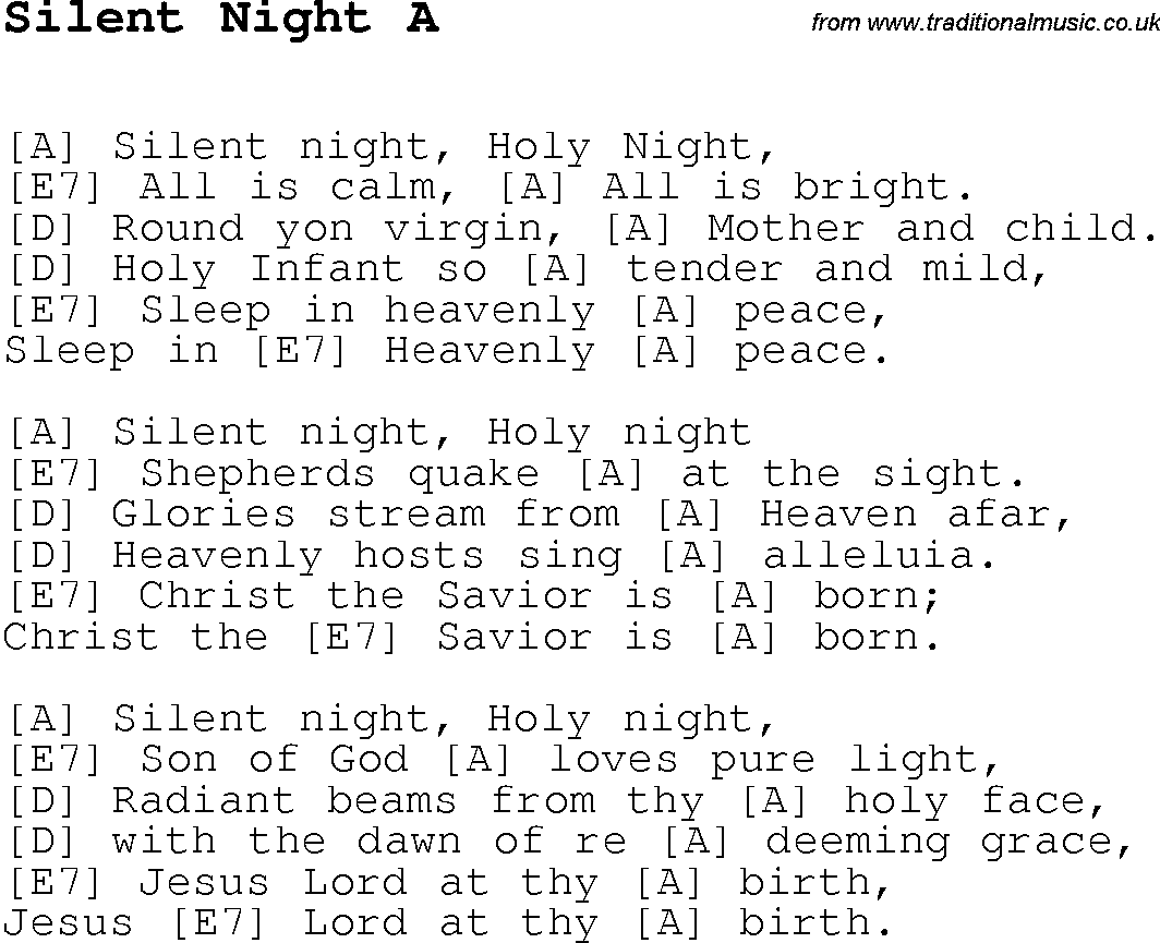 Christmas Songs and Carols, lyrics with chords for guitar banjo for Silent Night A | Ukulele ...