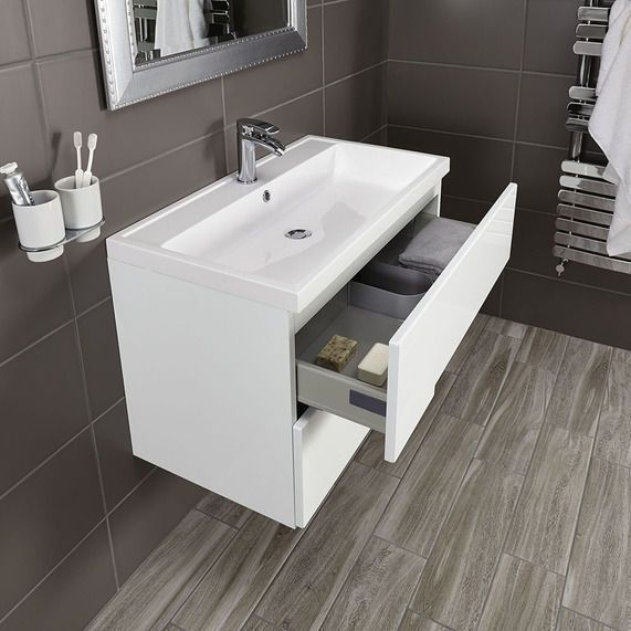 Vermont 800 basin and gloss white wall mounted vanity unit | Vanity ...