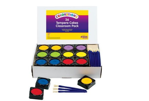 Colorations 36 Individual Tempera Cake Classroom Pack Paint Set
