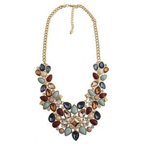 Women's Fashion Statement Necklace with Stones - Multicolor (18