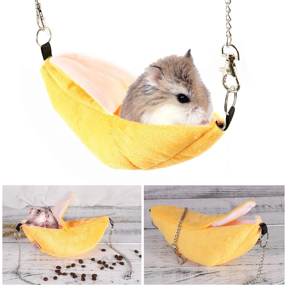 FLAdorepet Hamster Hanging Bed House Hammock Cute Fruits Winter Warm Fleece Little Rat Mouse Cage Nest Hamster Accessories