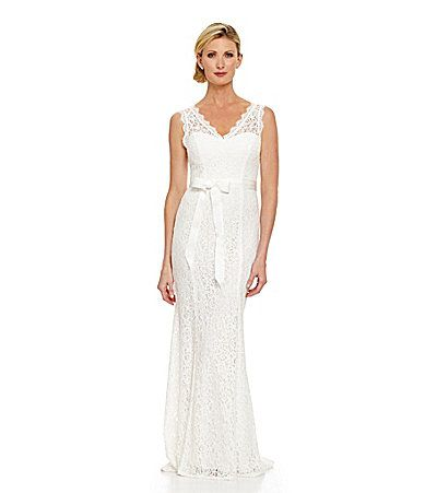 Adrianna Papell Sleeveless Lace Gown Dillards Wedding Gowns Lace Womens Wedding Dresses Gowns Dresses