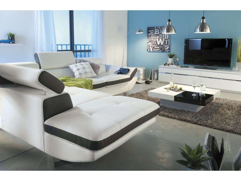 canap angle fixe gauche 5 places loft coloris blancanthracite pas cher c - Canape D Angle Blanc Pas Cher