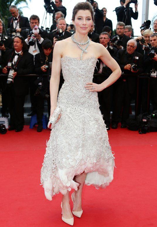 Jessica Biel attended premiere of 'Inside Llewyn Davis' during the 2013 Cannes Film Festival in Cannes, France. 31-year-old star looked every inch a Hollywood stunner in Marchesa.