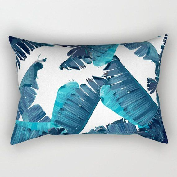 Blue Pillow Tropical Home Decor Throw Glam Accent Banana Le