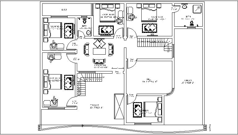 30x45 1350 sq ft 2 story duplex house plan