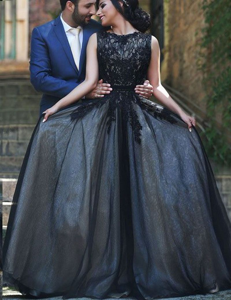 Lace Prom Dress with Tulle Skirt