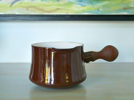 Dansk Enamel Warming Pot, Brown Wood Handle, by MindenShop on Etsy