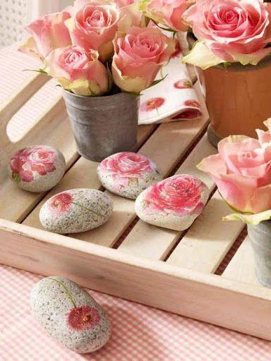 Rose rocks One Stroke Painting Pinterest Steine, Muschel und - rose aus stein deko