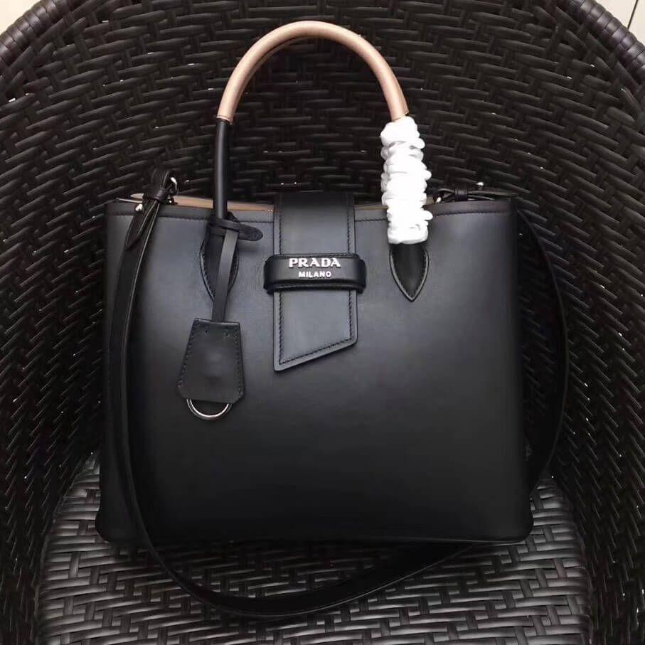 Prada Calfskin Top Handle Tote Bag 1BG148 Black Beige Resort 2018 ... fa8e706985740