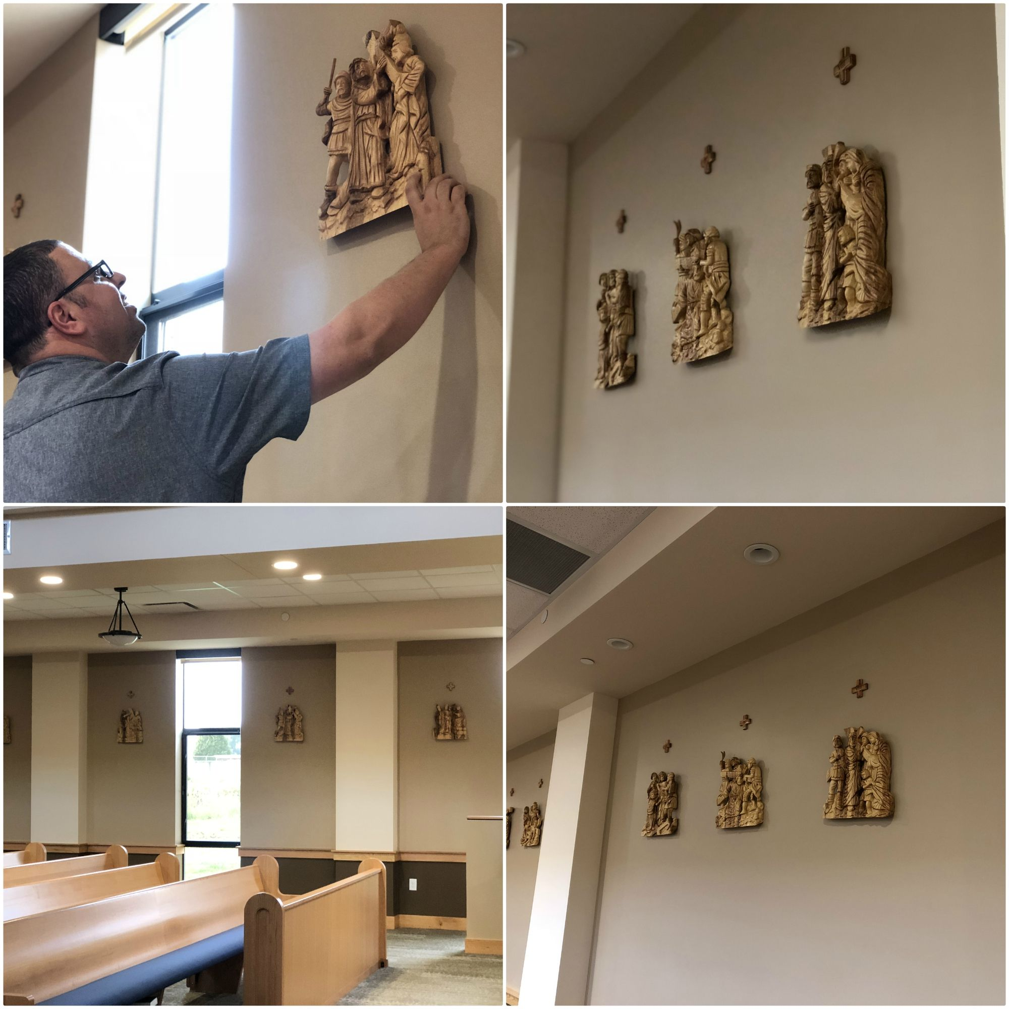 The 14 Stations Of The Cross Are Now Hanged On The Walls Of Guardian Angels Roman Catholic Church It Will Always Remind U Catholic Roman Catholic Church Wall